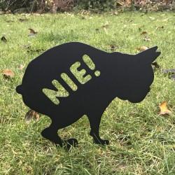 Tabliczka  posprzątaj po swoim psie - Pies Kupol wbity w trawnik. Kupa psa to już nie problem.