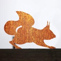 Wiewiórka rdzewieje przykręcona do płotu